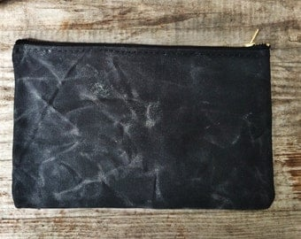 Waxed canvas zip bag