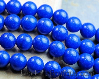 6mm Lapis Blue Mountain Jade Round Gemstone Beads - 16 Inch Strand