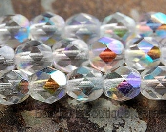 AB Crystal Czech Glass Faceted Bead 6mm Round - 25 Pc