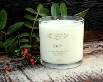 Organic Candle Christmas YULE Coconut Wax Massage Candles Essential Oils 10 oz