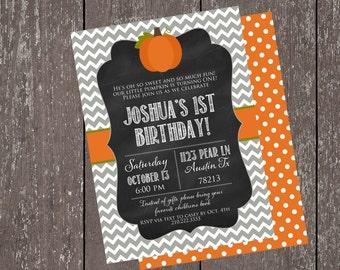 1st Birthday Pumpkin  Invite Collection-Chalkboard Invite-Casbury Lane