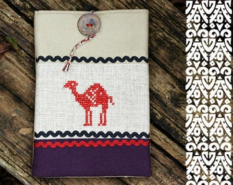iPad mini case - Africa collection - Camel - Embroidered - Gray and terracotta - iPad mini sleeve - Natural