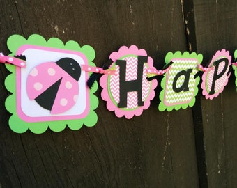 Ladybug Birthday Banner in pink and lime green
