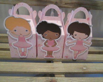 Pretty in Pink Ballerina Gable Boxes Set of 12 with Free Shipping
