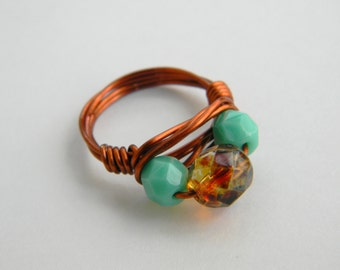 Candie - Wire wrapped ring mint green and fire polished glass bead size 6/copper ring/beaded ring/wire wrapped jewelry handmade/wire ring
