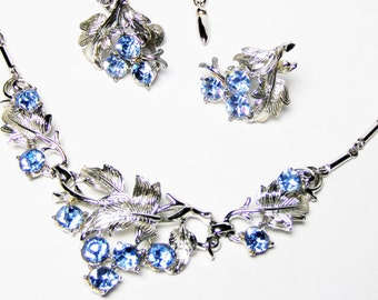 CORO Katz Silver-tone and Sky Blue Necklace and Earring Set