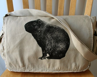 Capybara Canvas Messenger Bag