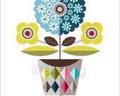 modern, retro, midcentury, blue flowers vase, print