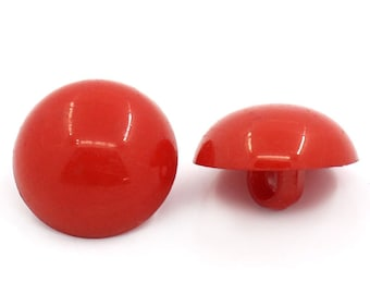 20 Acrylic Red Round Shank Buttons, 15mm, Sewing