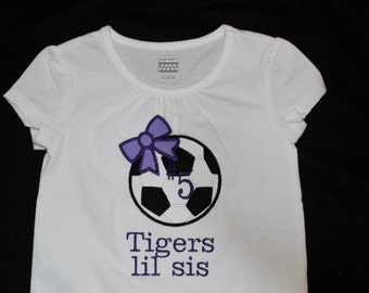 Personalized Lil Sis Girls Soccer Tshirt or Onesie