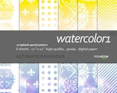 "Modern Digital Paper + watercolor - 055  + Scrapbook Quality Paper Pack  (12 x 12""- 300 dpi)   6 sheet pack paper  + Instant Download + Blue"