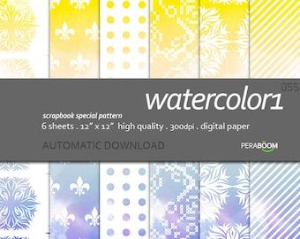 Digital Watercolor Papers, Bright Watercolor Paper, Watercolor Paint, Orange, Blue, Ombre, Watercolor Scrapbooking