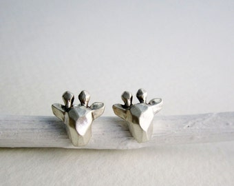 Faceted Giraffe Silver Stud Earrings,Giraffe Fine Jewelry