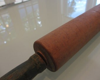 Vintage Green Handle Rolling Pin