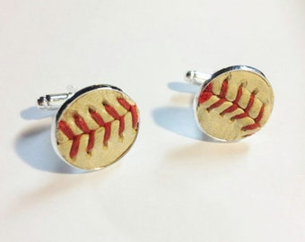 Played game ball MLB baseball NY Mets Manly man sports fanatic hand crafted cuff links