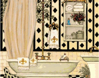 Bathroom 6 Cross Stitch Pattern