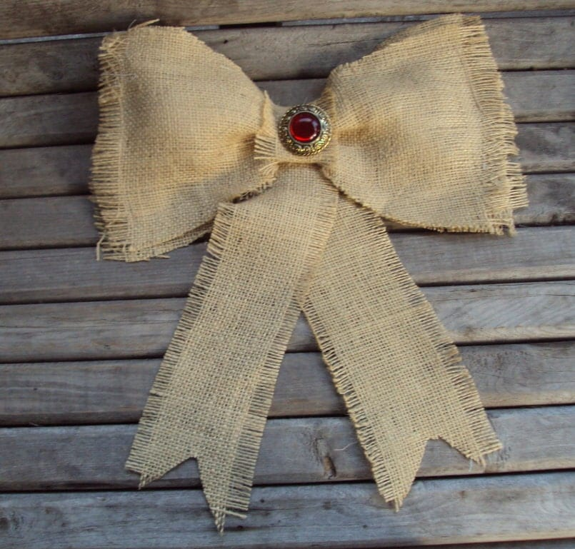 Puffy Burlap Rustic BOW -FarmStead Gorgeous Holiday Country Inspired Large Burlap Bow For Christmas Or AnyTime Decor