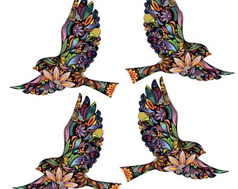 Flying Birds Wall Decals Stickers for Walls and Windows - Set of 4 (SKU187-17)