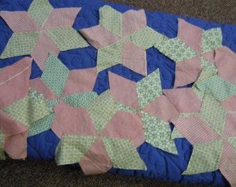 "Vintage quilt star blocks: Twenty cotton solid pink and prints 60 degree quilt star blocks 1950's 13"" across tumbling block design too"