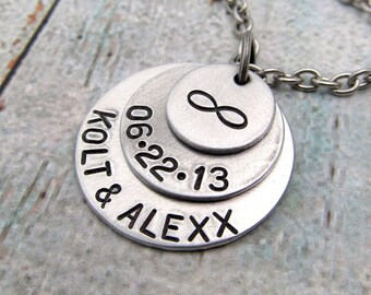 Personalized Couples Necklace - Infinity Necklace - Bride's Necklace - Hand Stamped Jewelry - Wedding Necklace - Personalized Necklace