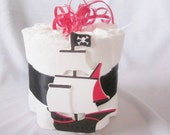 Pirate Ship Mini diaper cake decoration, baby shower or new baby gift.