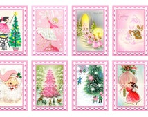 Digital Clipart, instant download, Angels stamps pink Santa Claus Christmas tree little girls--Digital Collage Sheet (4 by 6 inches) 1218