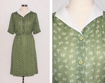 Vintage Green & White Rope Print Dress