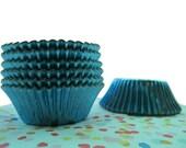 Aqua Blue Foil Cupcake Cup with Liner (50)