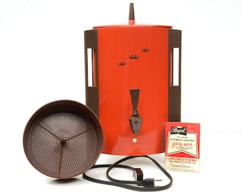 regal coffee maker, 10-30 cup, serving,orange polypropolene, poly-urn,1970s,retro kitchen,vintage kitchen,late mid century,mod beauty