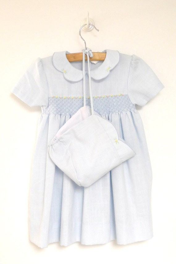 1970's Light Blue Linen Smocked and Embroidered Dress, Bloomers and Bonnet Set