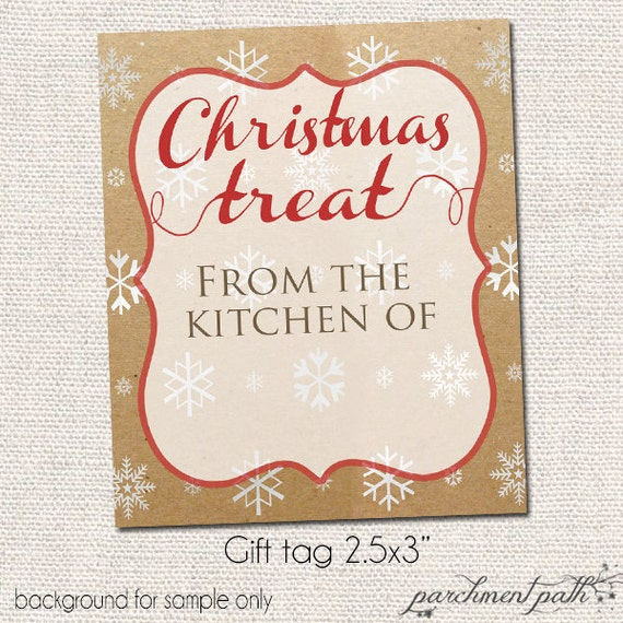 Items similar to printable gift tags christmas treat for Christmas gift ideas from the kitchen