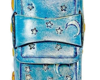 Blue Moon and Stars Handmade Leather Cigarette Case that can be used for your Cell Phone, Cigarettes, or Camera.