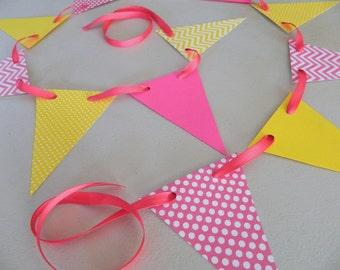 Pink Lemonade Birthday Decor/ Paper Pennant Garland / Birthday decorations / Pink and Yellow garland