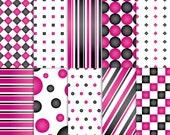 Black and Pink Scrapbook Paper, Printable Black and Pink paper, printable Black and Pink scrapbook paper, Black and Pink paper, diva paper