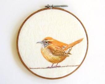 "Custom Bird Hoop Art - Original Acrylic Painting on a 6"" Embroidery Hoop - Made to Order"