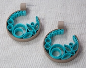 DIY Tutorial Quilled Paper Semi Circle Scroll Earrings + Bonus Quilled Shapes Tutorial - 2 for one great price. Quilling Pattern Project