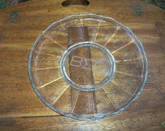 Sorority Platter Etched Glass Mid Century Buffet Entertaining Treasure BEO In Greek Letters