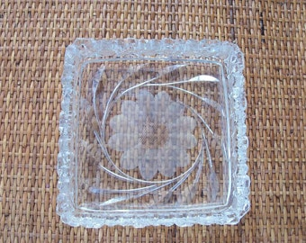 Crystal Tray Likely Brilliant Period Flower Motif & Pineapple Scoring Amazing Estate Find