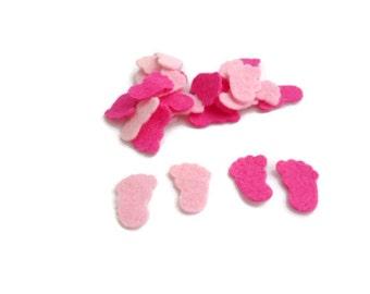 Felt shapes feet baby shower felt baby girl confetti die cut felt shapes