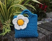 Little Girl Little Purse in petrol with ivory statement flower and button