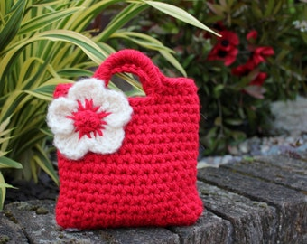 Little Girl Little  red Purse with ivory statement flower