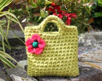 Little Girl Little Purse in meadow green with poppy flower, baby girl gift, flower girl bag