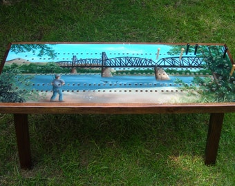 Cribbage Board Coffee Table, Custom Art Work, Custom Cribbage Board, Cribbage, Cribbage Table, Cribbage Board, Keepsake Furniture