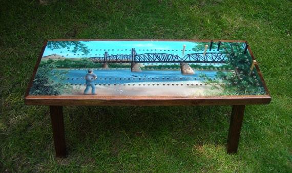Cribbage Board Coffee Table Custom Art Work Custom Cribbage