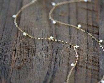 "Freshwater Pearl Necklace, Dangling Seed Pearls, Delicate 14k Gold Filled Chain ""Pearls by the Inch"""