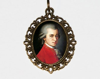 Mozart Necklace, Classical Music Jewelry, Wolfgang Amadeus Mozart, Oval Pendant