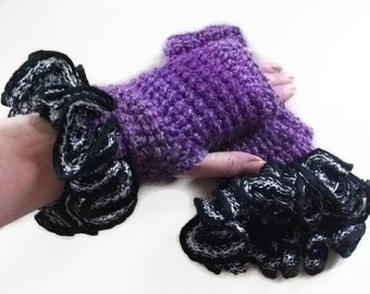 Purple Fingerless Gloves/Mittens with Black and Silver Ruffles.. Fashion Accessories.  Winter warmers, Wristwarmers, Handwarmers.