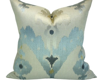 Schumacher Raja Embroidery pillow cover in Stone