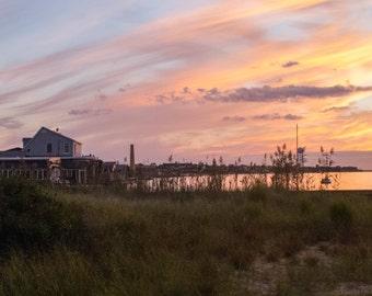 Sunset Photo   Fine Art Print   Greeting Card   Magic Hour on Fire Island   Home Decor   Beach Art   Pink   Orange