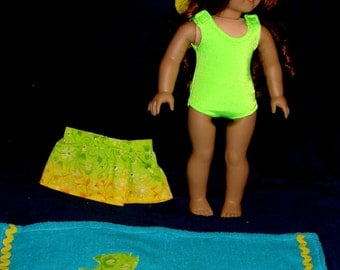 "Bright Lime Green 4 Piece Beach Set Fits American Girl Dolls or Similar 18"" Doll - Swimsuit, Sun Hat, Wrap Skirt, Beach Towel"